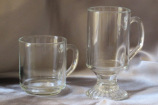 Glass mug and Irish coffee mug