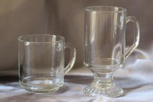 Glass mug and Irish coffee mug