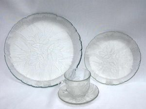 China_Rental_Cream_Floral_Glass_China