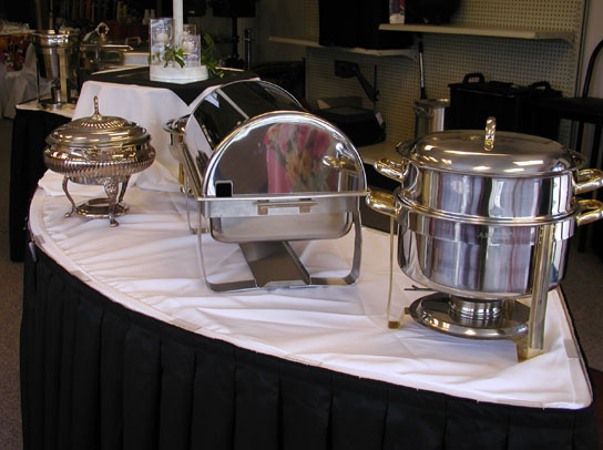 silver chafers buffet